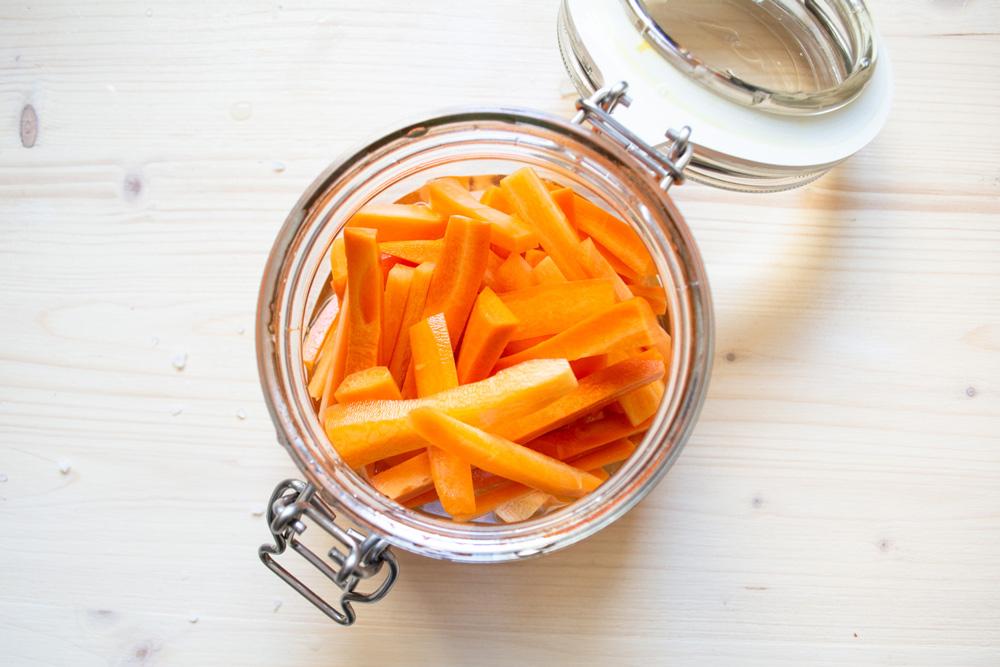 Carrot Pickles in open glass jar