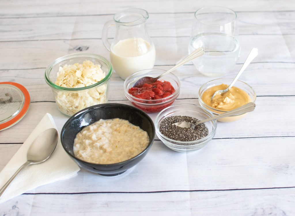 Oatmeal bowl and toppings bar