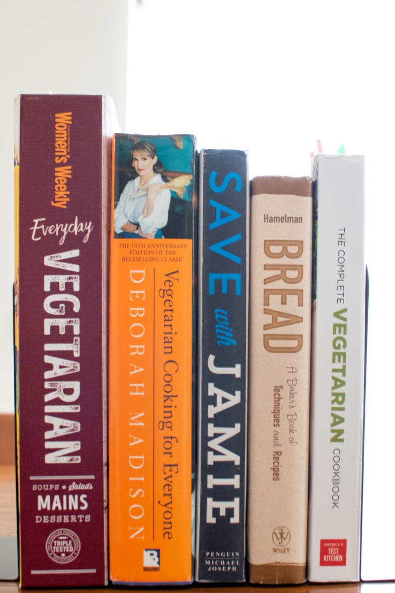 Vertical Stack of Cookbooks