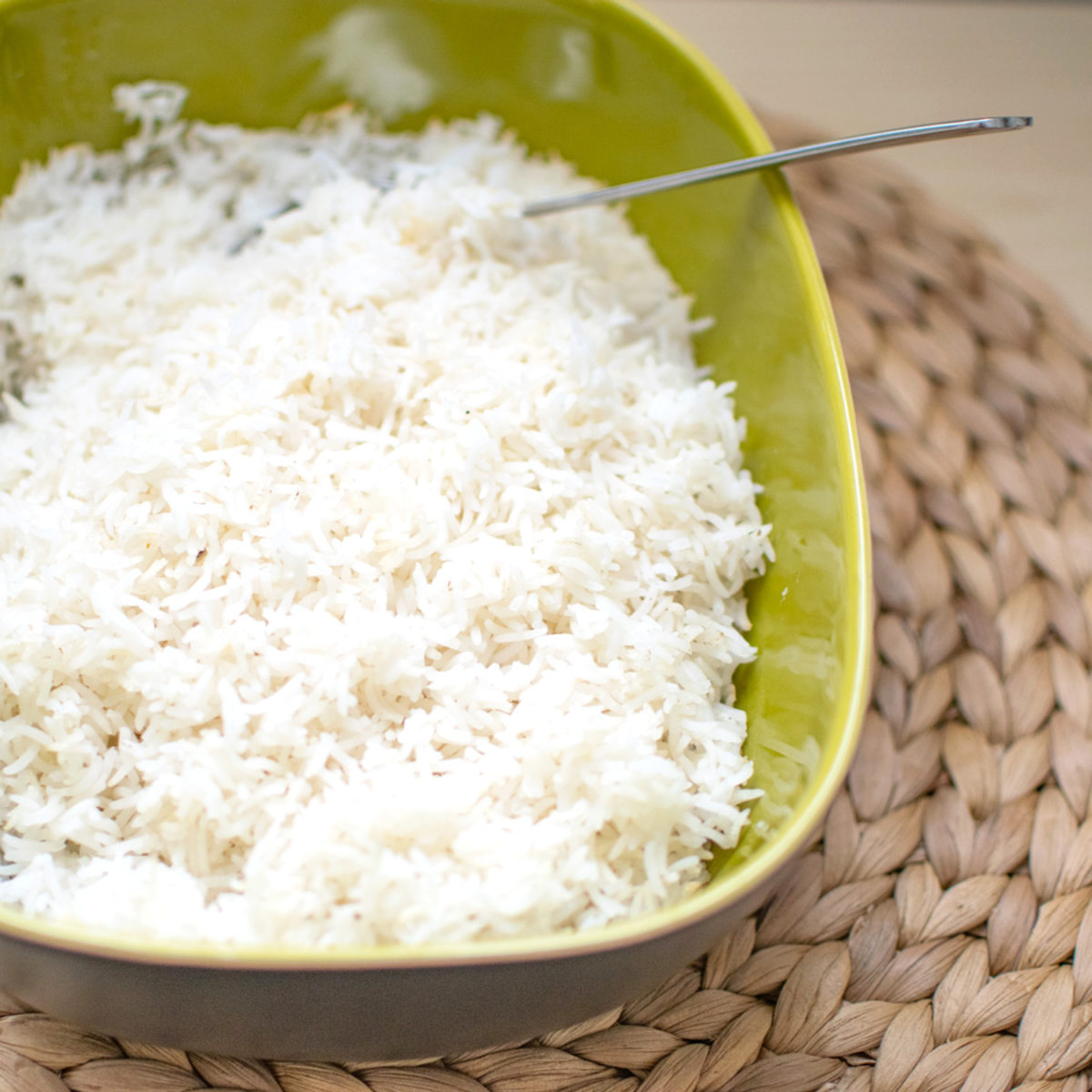 Baked White Rice in Green Casserole