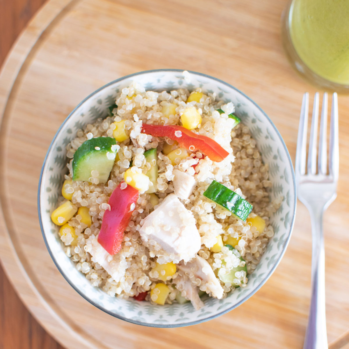 quinoa salad with green dressing