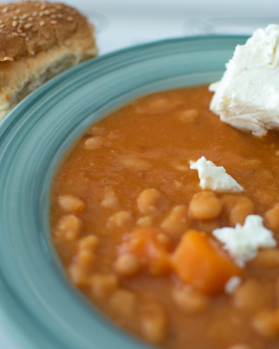 Bean Soup in a green deep plate