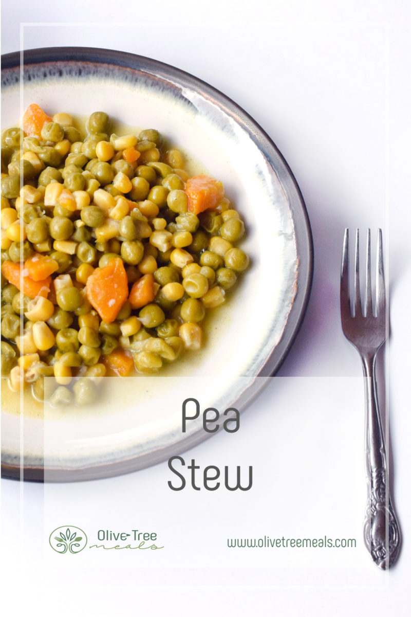 Pea Stew in a plate and a fork