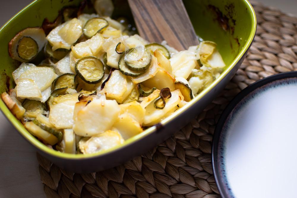 Caserole with potato and zucchini casserole