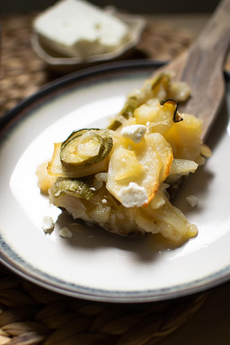 Plate with potato and zucchini casserole